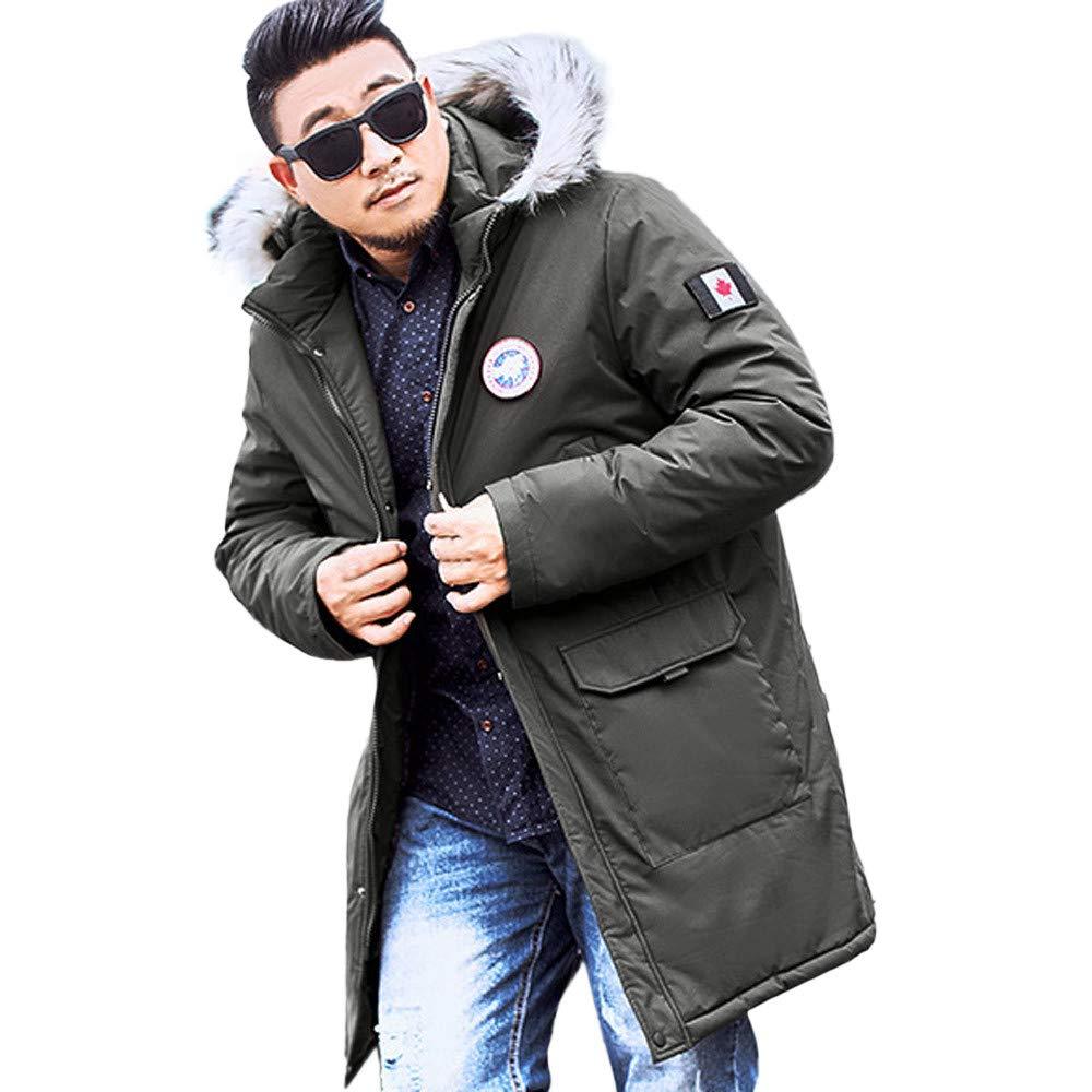 RedBrowm Mens Winter Medium Length Zipper Plus Size Hooded Pocket Thickened Cotton Coat at Amazon Mens Clothing store: