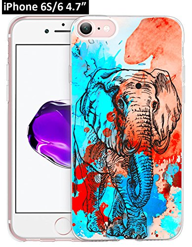 6S Case Elephant,Ecute Soft Slim Flexible Clear Rubber Side + Style Hard Back Case for iPhone 6S/for iPhone 6 Case 4.7 Inch - Nice Elephant ()