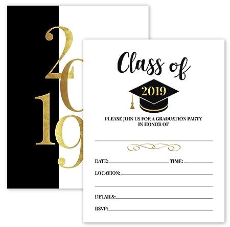 25 2019 Invitaciones De Fiesta De Graduación De Oro Y Negro