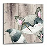 3D Rose Woodland-Friends Raccoon Animal Forest Illustration Funny Watercolor Wall Clock, 10'' x 10''