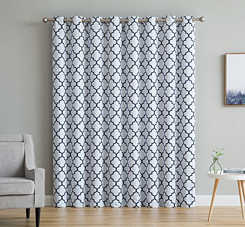 Cheap  HLC.ME Lattice Print Thermal Insulated Grommet Blackout Patio Door Window Curtain Panel..