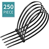 """250 Pieces Cable Zip Ties, 0.14""""x10""""Heavy Duty Nylon Self Locking Cable Ties for Office, Gardening, DIY, Workshop, Outdoor Purpose - Black"""