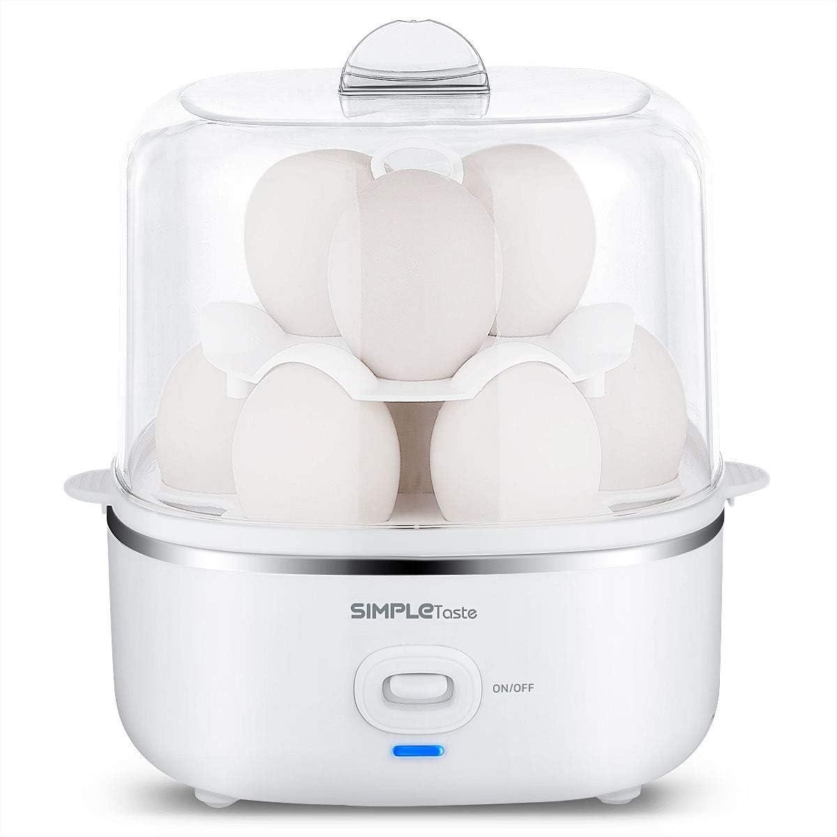 SIMPLETASTE Cocedor de Huevos Eléctrico para Huevos Duros o Blandos, Huevos Escalfados, Tortillas y Alimentos al Vapor con Función de Apagado Automático y 2 Niveles con Capacidad de 10 Huevos