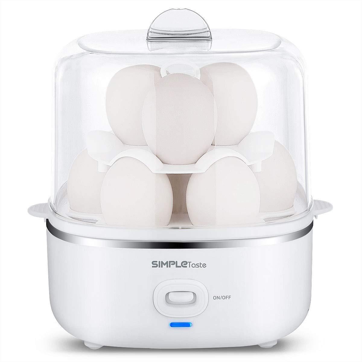 Weiß Neu 350W Eierkocher Elektrischer Edelstahl für 1-7 Eier