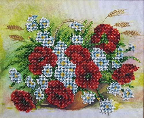 Wildflowers Bead Embroidery Needlepoint Tapestry kit Poppies and Daisies Beaded Stitching Needlecraft kit Beaded Cross Stitch kit Bordado
