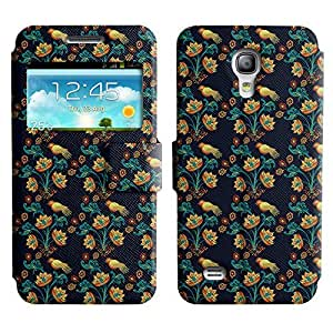 Be-Star Colorful Printed Design Slim PU Leather View Window Stand Flip Cover Case For Samsung Galaxy S4 mini / i9190 / i9192 ( Birds And Flowers ) Kimberly Kurzendoerfer