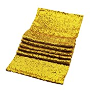 GOER 2 Pcs 12 x 108 Inch Rose Gold Sequin Table Runner For Bridal Wedding Birthday Baby Shower Party Decorations