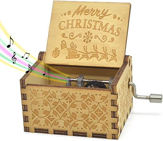 【Beauty and the beast】Music Box Engraved Wooden Music Box Toys Xmas Gifts