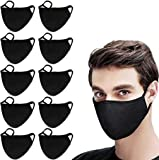 Cotton Unisex Face Shield Reusable for Cycling Camping Travel for Kids Teens Men Women, Pack of 10 (Black)