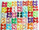 yagopet 60pcs/30pairs New Dog Hair Bows Topknot Small Bowknot with Rubber Bands Pet Grooming Products Mix Colors Varies Patterns Pet Hair Bows Dog Hair Accessories