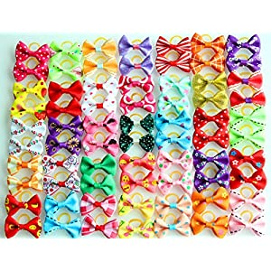 yagopet 60pcs/30pairs New Dog Hair Bows Topknot Small Bowknot with Rubber Bands Pet Grooming Products Mix Colors Varies Patterns Pet Hair Bows Dog Hair Accessories 20