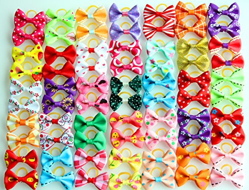 (yagopet 60pcs/30pairs New Dog Hair Bows Topknot Small Bowknot with Rubber Bands Pet Grooming Products Mix Colors Varies Patterns Pet Hair Bows Dog Hair Accessories)