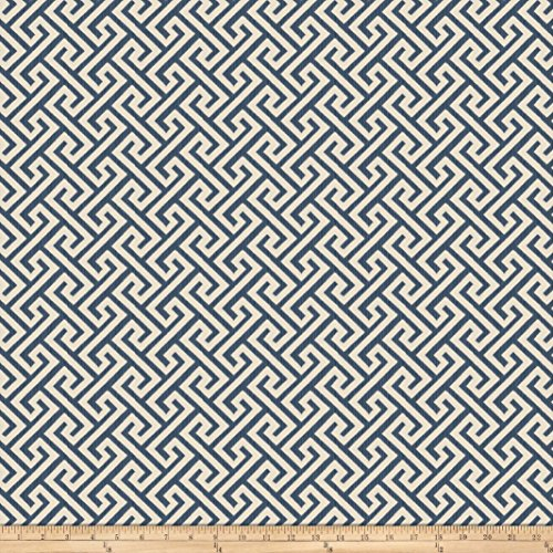 Vern Yip 03359 Jacquard Greek Key Navy Fabric by The Yard