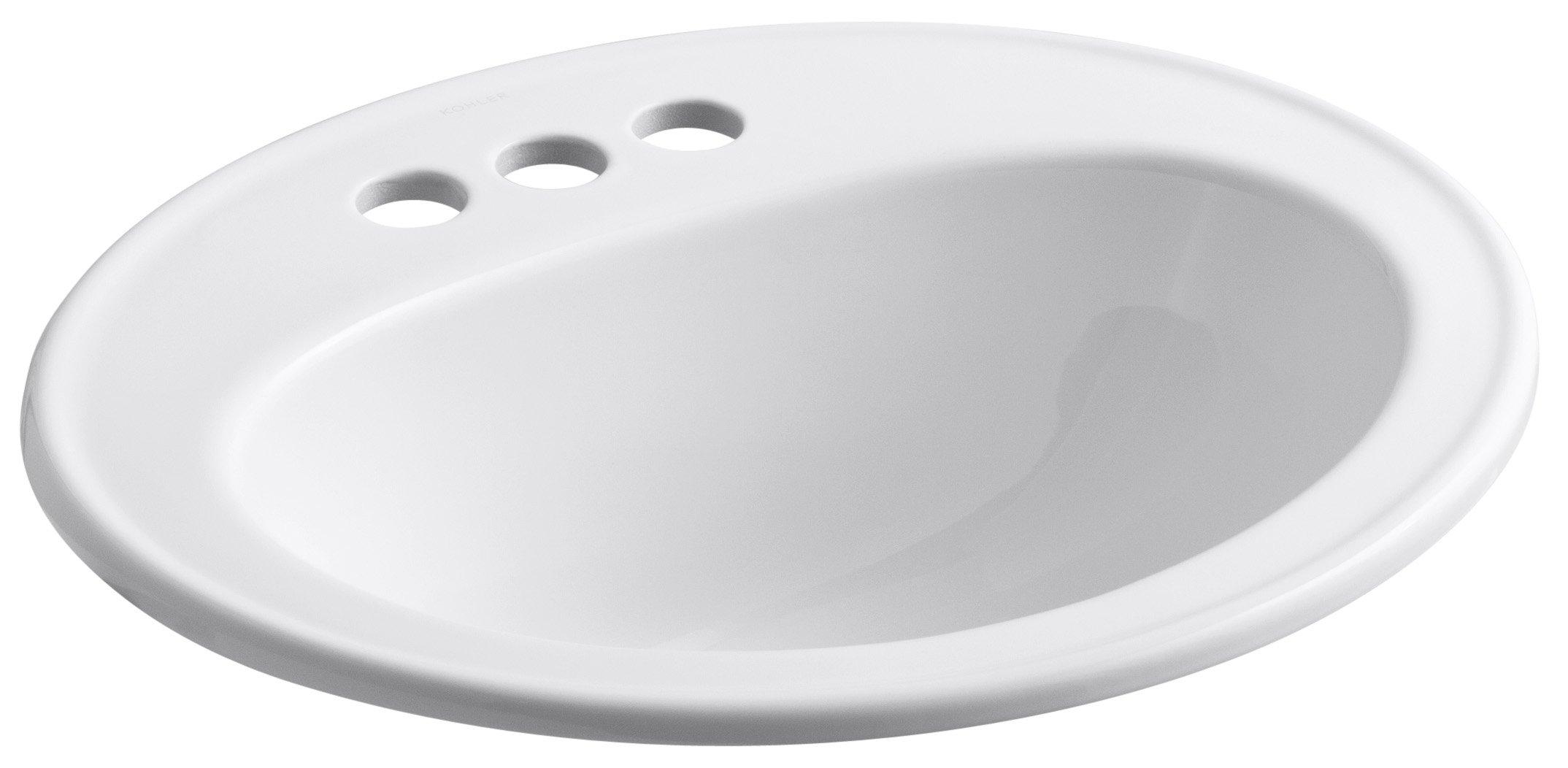 KOHLER K-2196-4-0 Pennington Self-Rimming Bathroom Sink, White