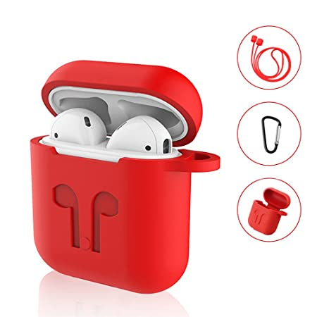 SYNERKY Custodia AirPods Apple,Silicone Case Skin Case with Sport Strap with Metal Keyring for Apple AirPods Case Protective 3 in 1 (Rosso)