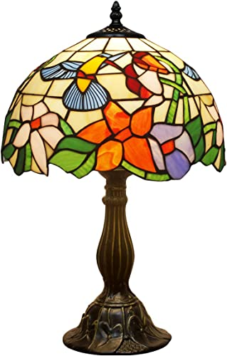 Tiffany Lamp W12H18 Inch Hummingbird Stained Glass Reading Table Bedside Desk Light S101 WERFACTORY Lamps Antique Art Craft Gift Parent Girlfriend Lover Kid Living Room Bedroom Study Coffee Bar Deco