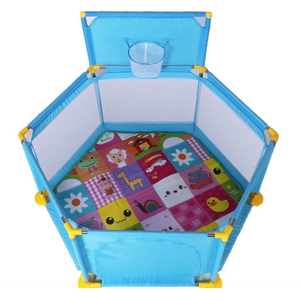 XIAOMEI 子供のガードレールセットベビーゲームのフェンスの障壁ベビーセーフティー幼児のバッフルとクロールマット ベッドの手すり (色 : 青)  青 B07GMQ918Y