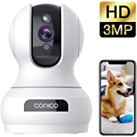 Wireless Security Camera 1536P Pet Camera, CONICO 3MP Dog Cam Baby Monitor 360° Viewing 8X Zoom, 2-Way Audio, Surveillance Camera with Motion Sound Alerts Night Vision Cloud Storage, Works with Alexa