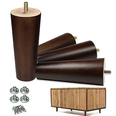 Juego de 4 patas de madera para muebles de 15 cm, acabado en ...