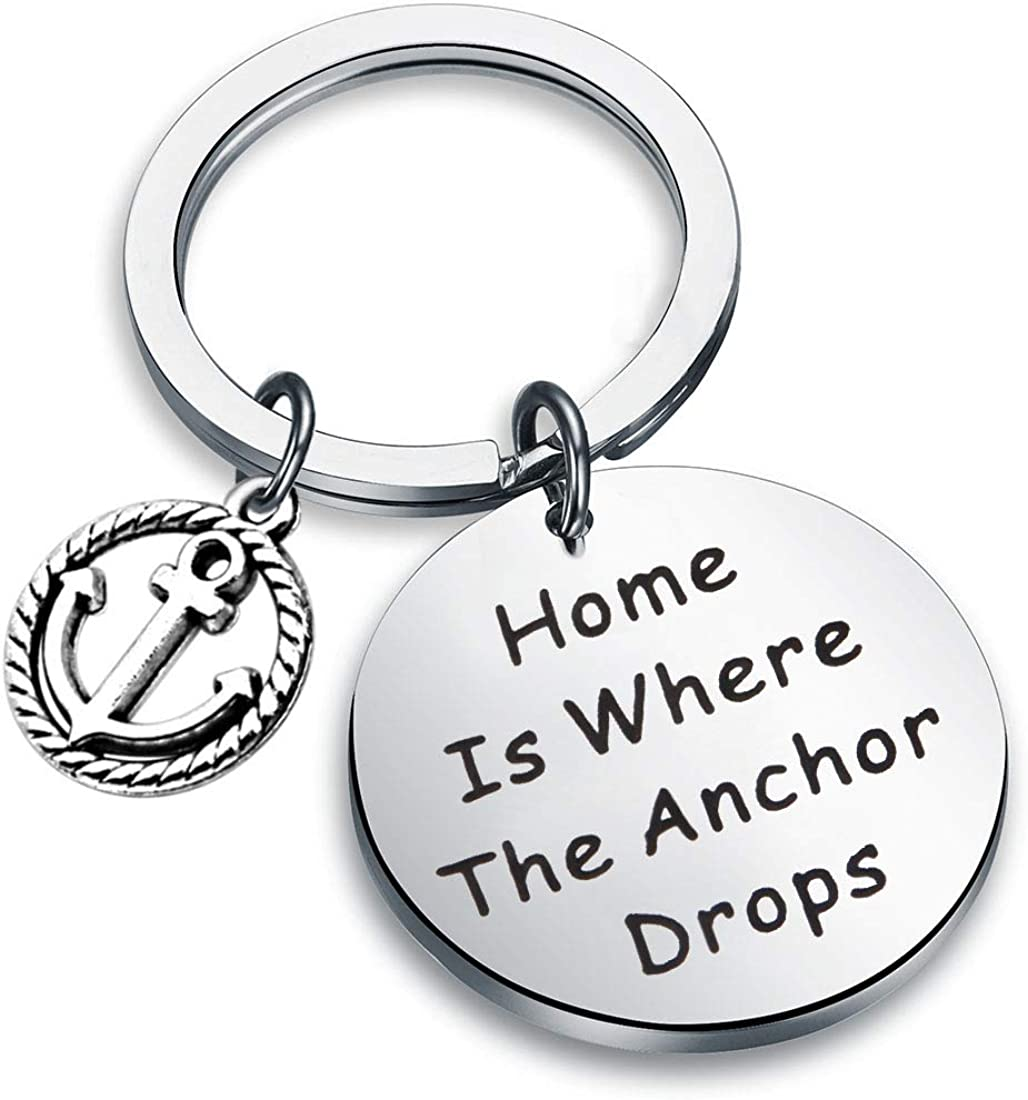 Zuo Bao Nautical Jewelry Anchor Keychain Home is Where The Anchor Drops Ocean Jewelry Gifts