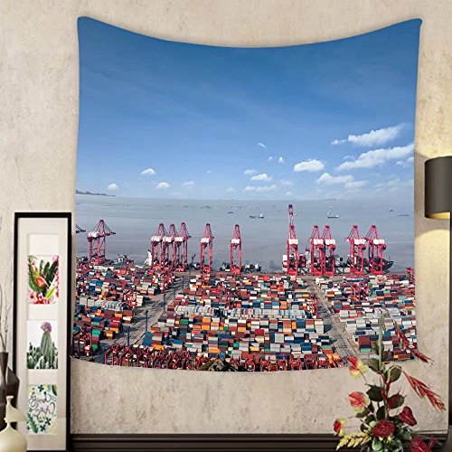 Mary J. Taylor Custom tapestry ocean container terminal in shanghai international shipping center china