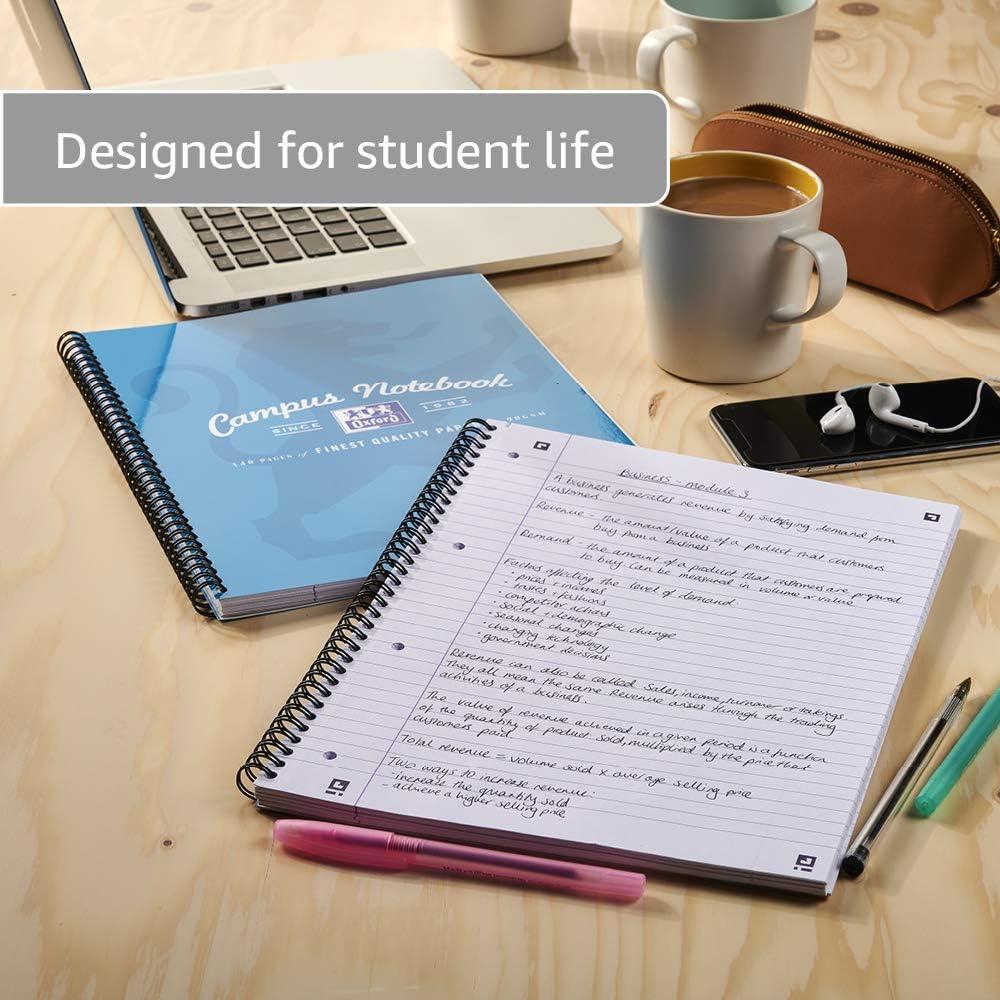 140 pagine assortiti confezione da 3 Quaderno formato A4 a righe Oxford Campus