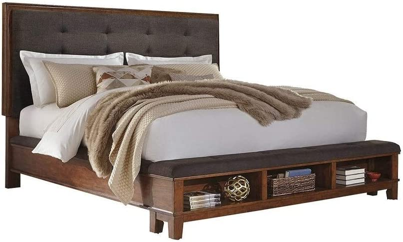 Ashley Furniture Signature Design - Ralene Queen Upholstered Storage Footboard - Component Piece - Medium Brown