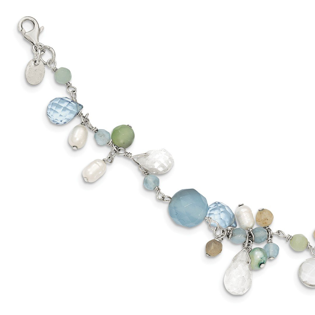 ICE CARATS 925 Sterling Silver Lace Agate/opalite Crystal/amazonite/ Freshwater Cult.pearl Bracelet 7.50 Inch Gemstone Pearl Fine Jewelry Ideal Gifts For Women Gift Set From Heart