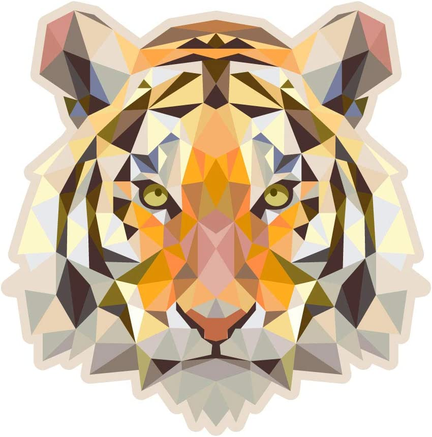Dark Spark Decals Low Poly Geometric Tiger - 5 Inch Full Color Vinyl Decal for Indoor or Outdoor use, Cars, Laptops, Décor, Windows, and More
