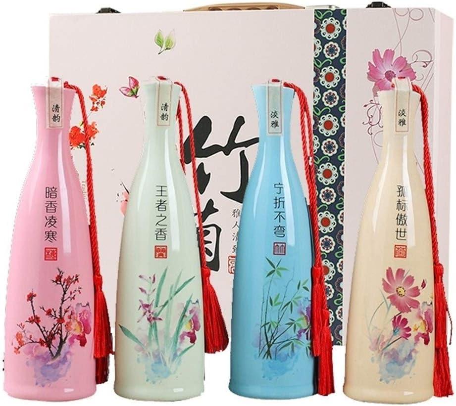 Compra Cerámica botella de vino, creativa y exquisita porcelana china tradicional decorativa del barril de vino, Moderno col cerámica botella de vino vacía sellada Hip Frasco del hogar del almacenaje del vin