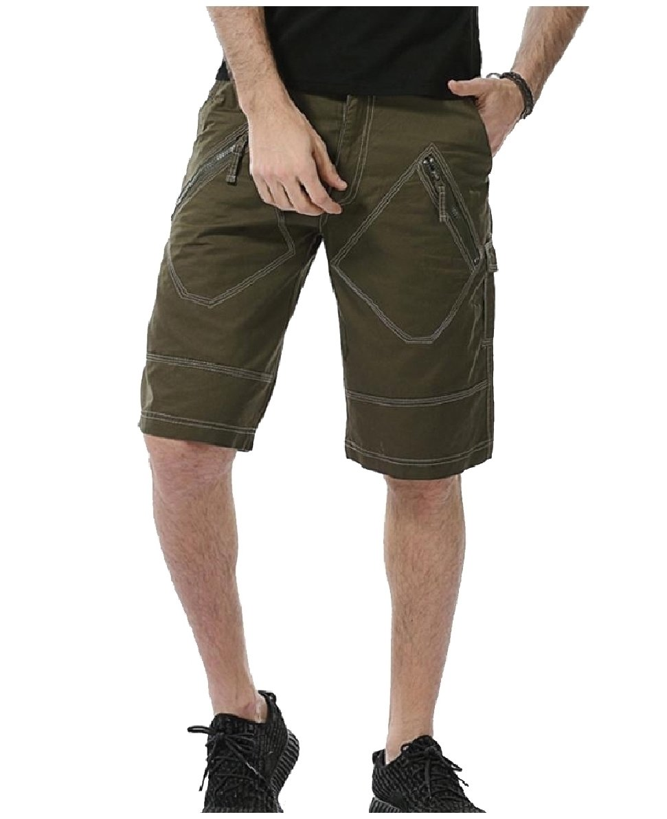 Comfy Men's Oversized Shorts Pocket Fine Cotton Airsoft Cargo Pants Army Green 37 by Comfy-Men (Image #1)