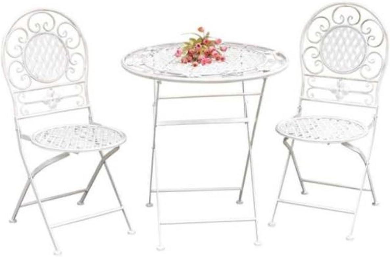 Lesli Living Bistroset Viva la vida alt-weiß Metall bestehend aus 2 Stühlen und Einem Tisch