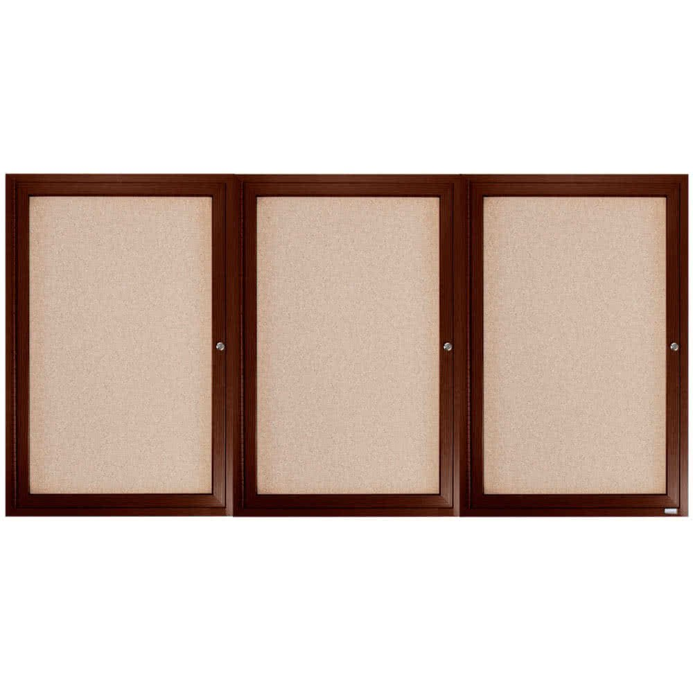 TableTop King WBC3672-3R 36'' x 72'' Enclosed Hinged Locking 3 Door Bulletin Board with Walnut Finish