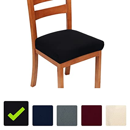 Stretch Chair Seat Covers For Dining Room Black Set Of 4 Jacquard Cushion Protectors Slipcovers Amazoncouk Kitchen Home