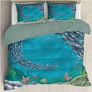Nautical Bedding Set Full, 1 Duvet Cover + 2 Pillow Shams, Coral Reef Tropical Fish Printed Quilt Set with Zipper Closure Corner Ties