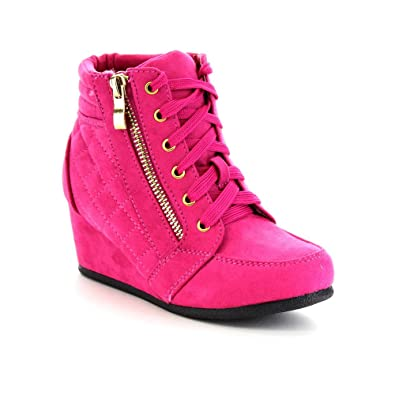 05e1b5e40f4 Link Peggy-63K Children Girl s Wedge Heel Lace Up Diamond Shape Quilted  Sneakers