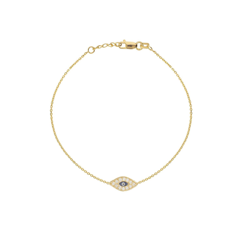 14 K黄色ゴールドミニEvil Eye Bracelet withキュービックジルコニアeast2westコレクション B07845TKVV