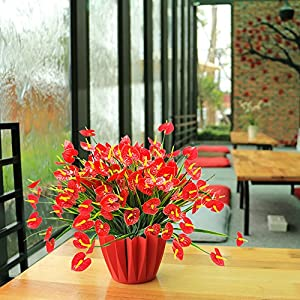 YISNUO Artificial Fake Flowers, Faux Anthurium Plants Plastic Shrubs Bushes Greenery Indoor Outside Hanging Planter Home Decorations(Red) 3