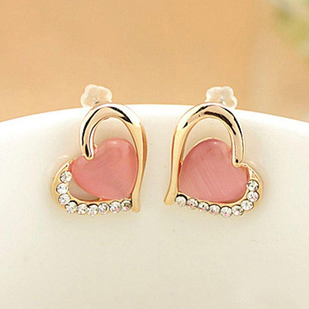 Rtiopo Stylish Ladies Cute Causal Shiny Side Heart Shape Stud Earrings(Pink)