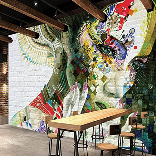 Colomac Wall Mural 3D Fashion Magnificent Character Graffiti Mural Suitable for Living Room Sofa TV Background Wall Bedroom Hall Coffee House Wallpaper 55 Inch x 27.6 Inch