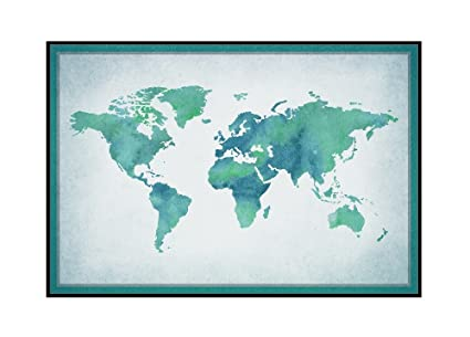 Amazon world map watercolor 24x16 framed gallery wrapped world map watercolor 24x16 framed gallery wrapped stretched canvas gumiabroncs Choice Image