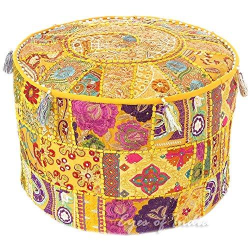 ndian bordado otomana con diseño de Patchwork, Indian ...