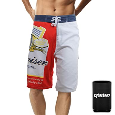 38446ecf6d Budweiser Board Shorts King of Beers Classic Beer Label Men's Swim Trunks +  Coolie (S