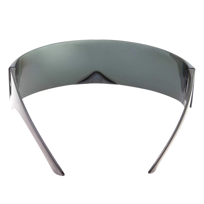 fa372088cef Amazon.com  grinderPUNCH Silver Mirror Futuristic Shield Sunglasses Deal  Glasses  Clothing