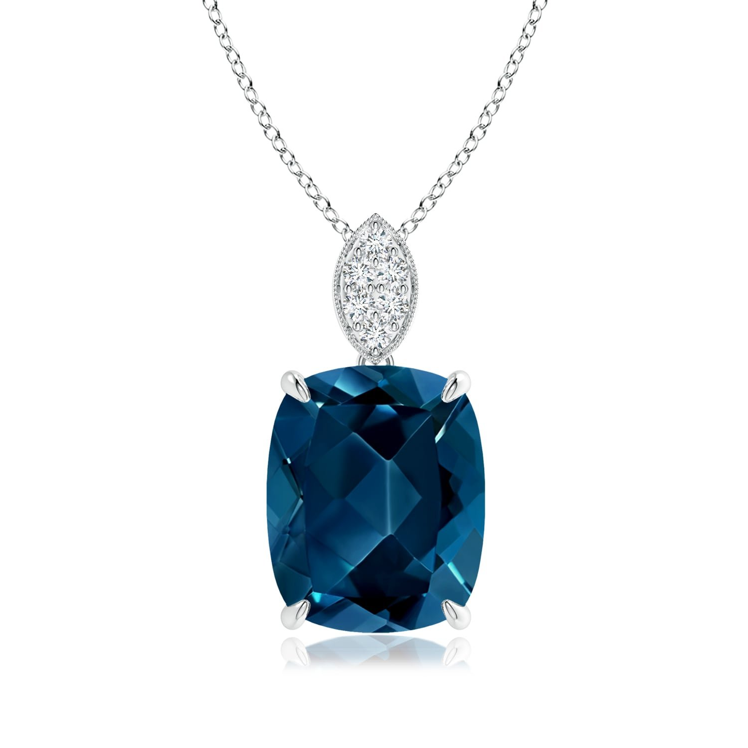 Gifts for Mom - Cushion London Blue Topaz Pendant with Diamond Leaf Bale in 14K White Gold (11x9mm London Blue Topaz)