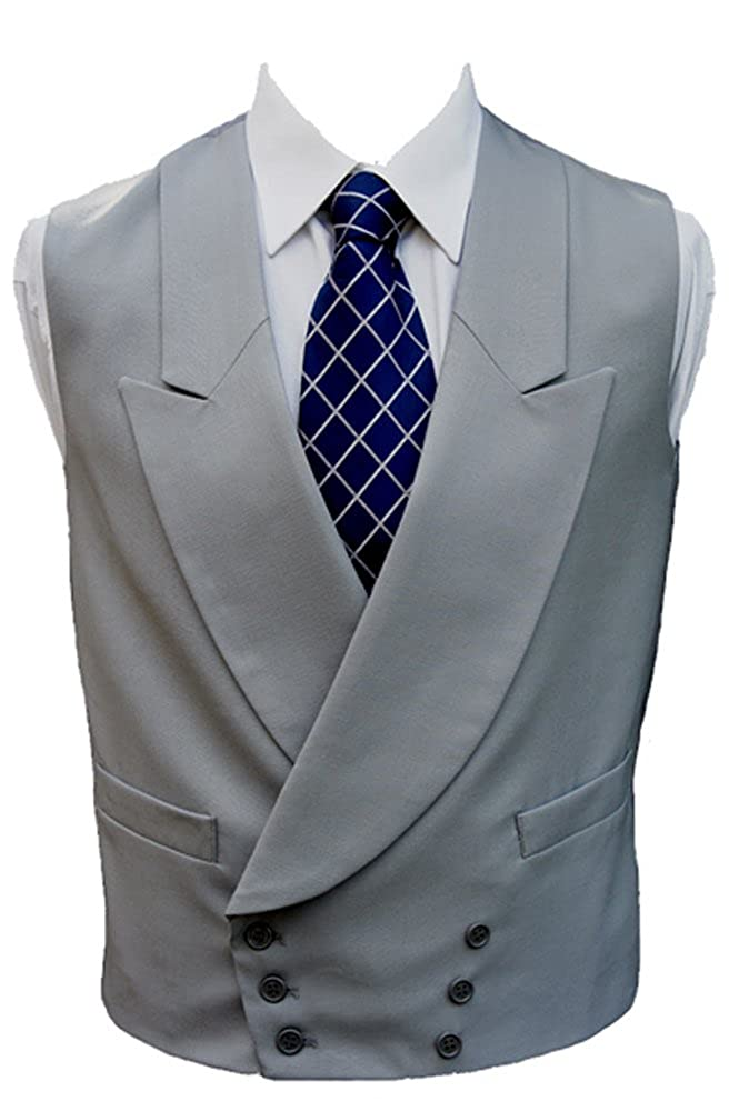 Clermont Direct 100% Wool Double Breasted Dove Grey Waistcoat - Made in UK