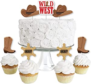 Big Dot of Happiness Western Hoedown - Dessert Cupcake Toppers - Wild West Cowboy Party Clear Treat Picks - Set of 24