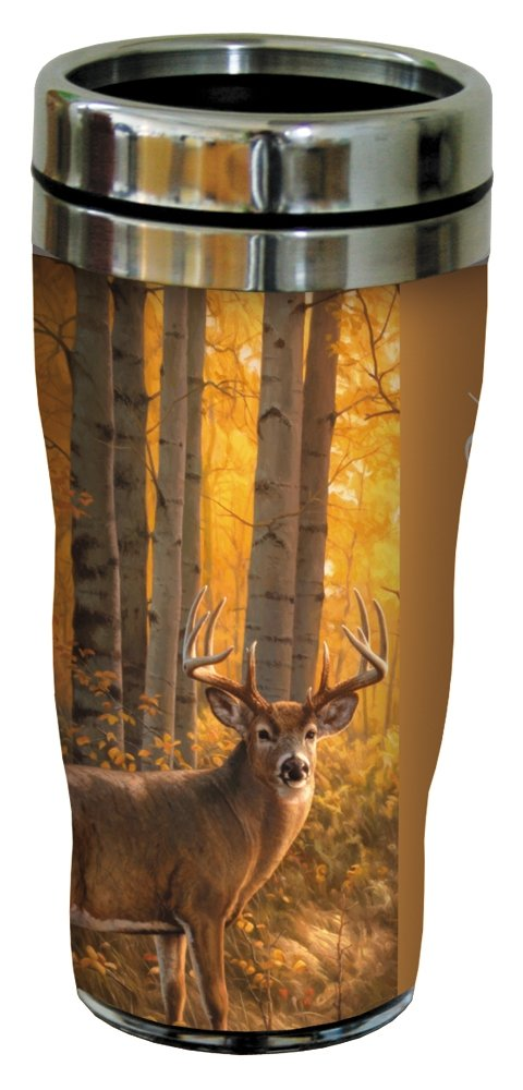 White Tailed Deer Travel Mug, Stainless Lined Coffee Tumbler, 16-Ounce - Gift for Animal and Nature Lovers - Tree-Free Greetings 25915
