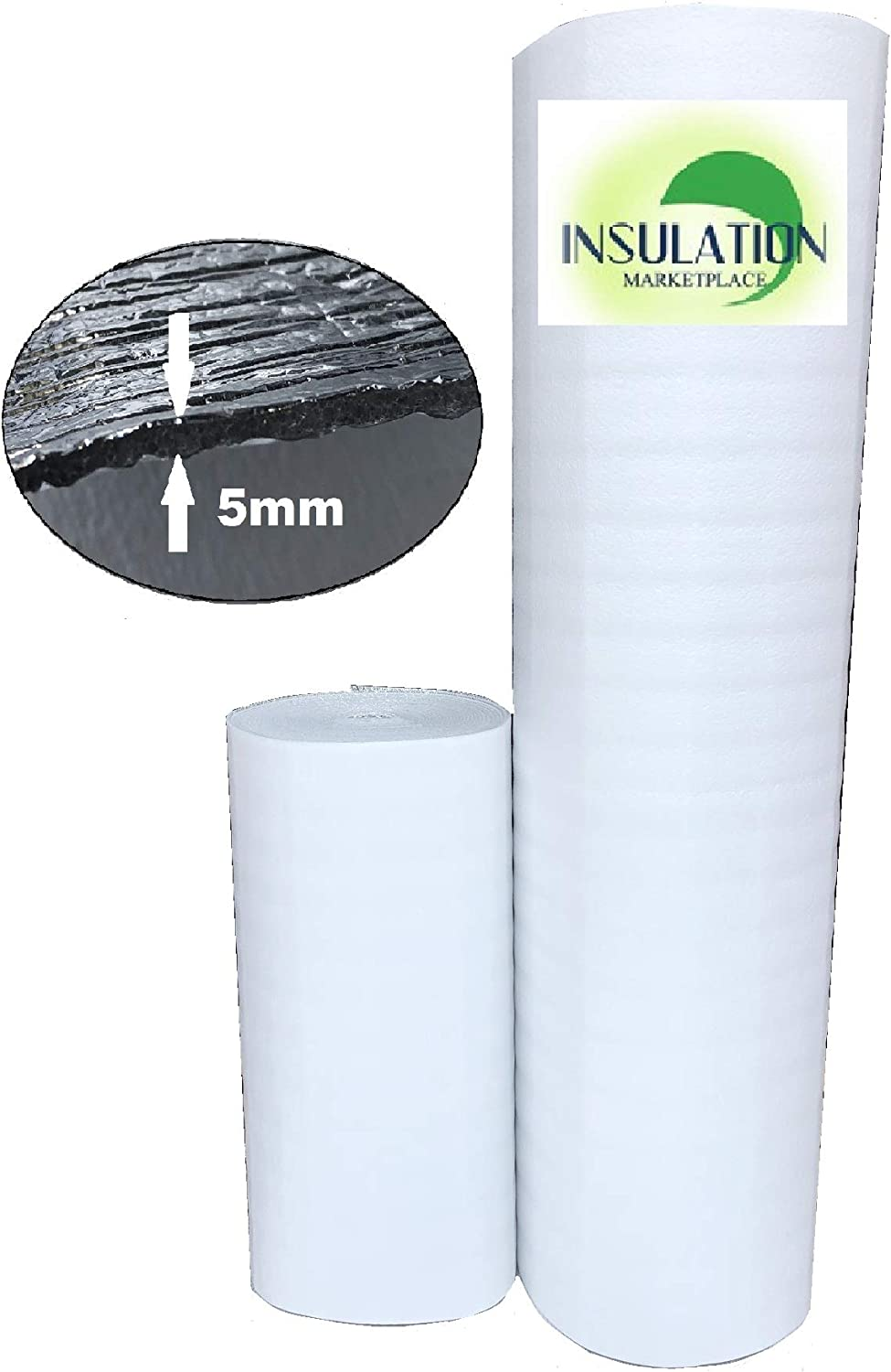 """SmartSHIELD -5mm 24""""x50ft White Reflective Foam Core Insulation roll, Cold and Heat Shield, Foam Core Radiant Barrier, Thermal Foil Insulation"""