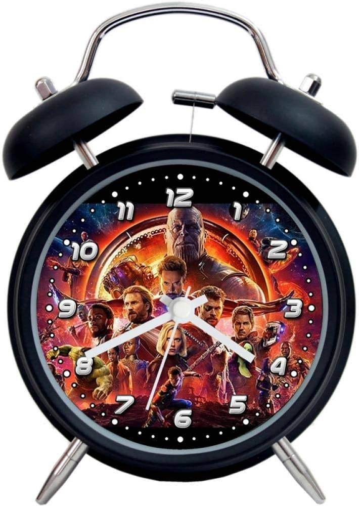 Mzbbn Reveil Lumineux R/éveil Simple Muet M/étal Sonnerie Gar/çon Cadeau-Avengers 3 Black Circle Analogique R/éveil